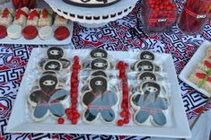 """Ninja cookies (also, loving the rice crispy treat """"sushi"""" in the picture) Ninja Birthday Parties, Ninja Party, Birthday Ideas, Spy Party, Party Time, Sushi Party, A Little Party, Rice Crispy Treats, Cookie Favors"""