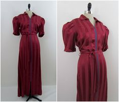 Vintage 1930s Dress Bias Dressing Gown in Red Chevron Stripe Rayon