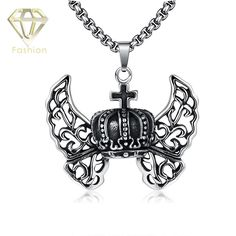 Photo Necklace Vintage 316L Stainless Steel Rock Hollow Three-Dimensional Crown Cross Pendant Necklace Fashion Unisex Jewelry