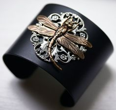 Steampunk Dragonfly Cuff Bracelet by robinhoodcouture on Etsy ...