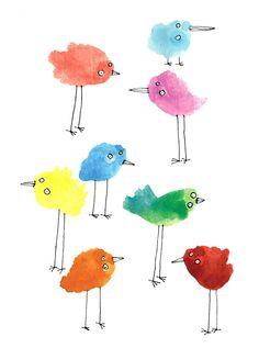 Birds Lorna Scobie fingerprint birds...simple childrens style paint , pen and ink illustration