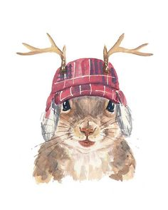 Squirrel Watercolor PRINT - Canadian, Canadiana, Trapper Hat, Deer Antlers, 5x7 PRINT
