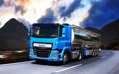 Descargar fondos de pantalla DAF CF, 2016, Euro-6, camiones nuevos, camiones cisterna, transporte de gasolina, azul daf, por carretera, marítimo, DAF