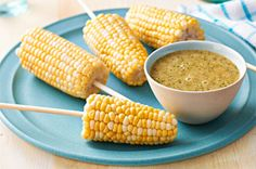 """Such a clever way to serve summertime corn on the cob!   Corn Cob """"Pops"""" with 2 dipping sauces"""