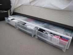 """Pricey ($25) but awesome (and stackable!) underbed drawers. Just over 6"""" tall."""