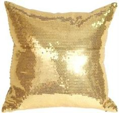#Gold Sequins Accent Pillow