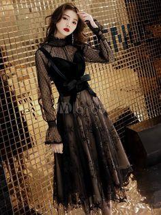 Black Evening Dresses, Black Prom Dresses, Pretty Dresses, Dress Black, Long Dresses, Tea Length Formal Dresses, Formal Dresses For Women, Lace Homecoming Dresses, Dress Prom