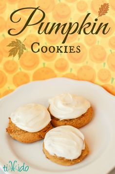 Soft, cakey pumpkin cookies full of pumpkin pie spices and topped with cream cheese icing are absolutely delicious, and my favorite fall pumpkin recipe.