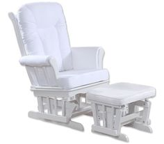 Cushioned Wooden Glider Chair Couch with Ottoman - White