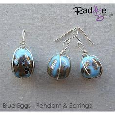 $99 Blue Eggs Pendant and Earrings silver glass by radgedesign on Handmade Australia