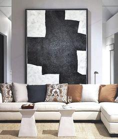 Modern Abstract Painting, Black And White Original Minimalist Art, Geometric Art, Large Canvas Art, Hand Painted Acrylic Painting.