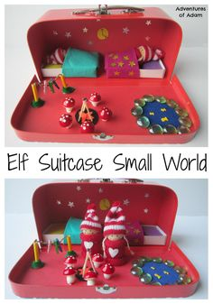 Elf Suitcase Small World Create your own small world for Mr and Mrs Elf inside a suitcase. Complete with miniature fire, washing line, pond and beds the Elf Suitcase Small World has everything an elf would need. A perfect DIY Christmas gift. Christmas Activities, Activities For Kids, Diy For Kids, Crafts For Kids, Small World Play, Diy Christmas Gifts, Diy Toys, Handmade Toys, Kids Playing