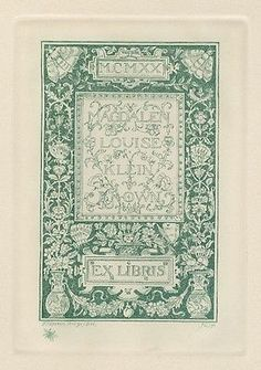 Proof with Remarque Ex Libris Bookplate for Magdalen Brown by Sidney L. Smith  in Art, Art from Dealers & Resellers, Prints   eBay