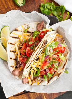 Grilled Flank Steak Tacos via Neighborfoodblog.com
