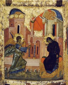 Byzantine Icons :: Holy Virgin Mary :: The Annunciation Byzantine Icons, Byzantine Art, Religious Icons, Religious Art, Christian Stories, Paint Icon, I Believe In Angels, Early Middle Ages, Chef D Oeuvre