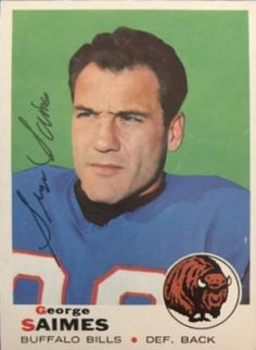 Find the best deal on George Saimes autographed items for your collection of Sports, Football memorabilia. American Football League, National Football League, Football Trading Cards, Baseball Cards, Defensive Back, Football Memorabilia, Michigan State University, Buffalo Bills, Nfl