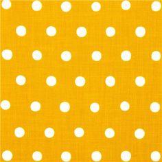mustard echino canvas fabric with white polka dots