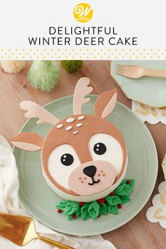 Delightful Winter Deer Cake Whether you're celebrating a December birthday or baby shower, this Delightful Winter Deer Cake is the perfect addition to your special celebration! Decorated using buttercream icing and fondant, this one-tier round cake uses a Christmas Cake Decorations, Christmas Cupcakes, Christmas Sweets, Holiday Cakes, Holiday Desserts, Christmas Baking For Kids, Fondant Christmas Cake, Christmas Birthday Cake, Christmas Cake Designs