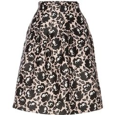 Max Mara Oboe printed a line skirt ($130) ❤ liked on Polyvore featuring skirts, clearance, pink, pink skirt, pink knee length skirt, knee high skirts, print skirt and knee length skirts