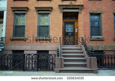 Brick wall brownstone townhouse in New York City Brooklyn