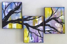 """Branching Out"" acrylic stucco abstract treescape triptych on gallery canvas"