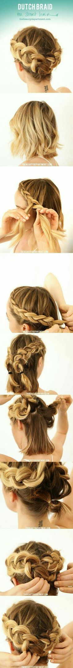 Dutch braid on short hair