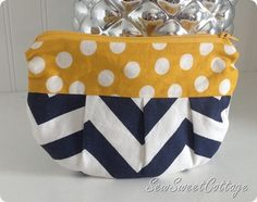 Navy chevron and yellow polka dot, pleated coin purse--Sew Sweet Cottage pattern from Skip To My Lou