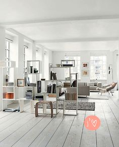 Asymmetrical Open Bookcase, White Everything, Lots of Windows // love