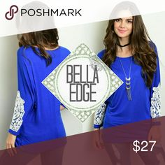 ⚬LAST⚬  Royal blue crochet long sleeve dolman top 95% RAYON, 5% SPANDEX Made in USA This jersey knit top features beautiful royal blue fabric, relaxed dolman sleeves with white crochet detailing and a scooped neckline. Great with jeans and leggings Size large (will fit 8-14) - very stretchy! Bella Edge Boutique Tops