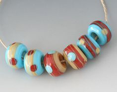 Southwest BHB Set  6 Handmade Lampwork Beads  Turquoise by outwest