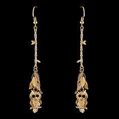 Gold Owl Fashion Dangle Earrings