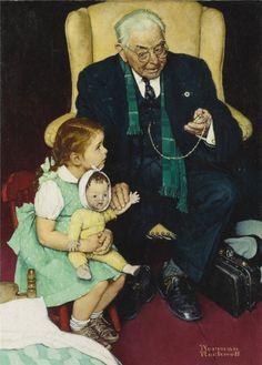 """Norman Rockwell (American, 1894-1978) Doctor and Doll.ДЕТИ В ЖИВОПИСИ (ВО ЧТО ИГРАЮТ ДЕТИ С КУКЛАМИ? Часть II - Маленькие врачихи и взрослые """"доктора"""".) - parashutov"""