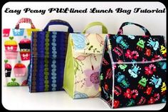 2bbae69ed easy peasy lunch bag tutorial Bolsas Para Niñas, Trucos Para Coser, Bolsos  Hechos A