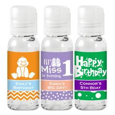 Create the perfect, personalized favor with our Birthday Hand Sanitizer! They make a great addition to a picnic in the park or a gathering at a theme park or zoo. To personalize them, you can choose a pattern, a design icon, and 2 colors. Travel Size Bottles, Best Cleaning Products, Picnic In The Park, Personalized Favors, Birthday Party Favors, Hand Sanitizer, Travel Size Products, Create, Characters