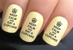 nail decals #346 keep calm & eat a cupcake funny weight loss water transfers stickers manicure art set x24 by Nailiciousuk on Etsy