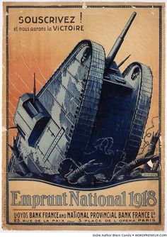 Restored and digitally enhanced French vintage poster which shows a large tank emerging out of a trench onto a battlefield. et nous aurons la victoire. Emprunt National Image courtesy of Library of Congress. Published in 1918 Ww1 Propaganda Posters, Political Posters, Ww1 Tanks, World War One, Sale Poster, Military History, Paris, Vintage Posters, Retro Posters