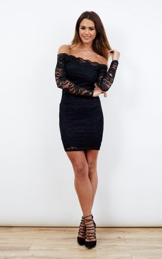 We are in love with this beautiful dress. Figure hugging, the off the shoulder and lace detail give it an elegant twist. Perfect for a night on the town or your next event. Best with demure make-up and classy shoes!
