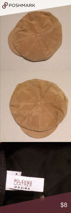 Wilsons Leather Maxima Newsboy Cap Tan Suede S/M Wilsons Leather Maxima Newsboy Cap Tan Suede Size Small/Medium. In good used condition. No heavy stains inside or outside.  A leather cleaning pro can restore this vintage cap.  No rips or holes. Comes from a smoke and pet free home. Thanks for looking 😊 Wilsons Leather Accessories Hats