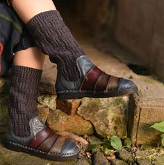 New2015 Fashion Leather Knitting Boots Ankle BootsFlat por HerHis