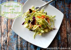 Broccoli Slaw Recipe with Stonyfield Greek Yogurt Dressing | Easy Picnic Recipes - Mindfully Frugal Mom