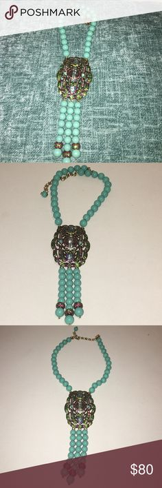 Turquoise /gold Necklace with Swarovski crystals Heidi Daus good fortune necklace Jewelry Necklaces