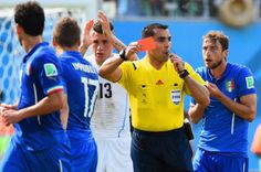 Referee Marco Rodriguez shows a red card to Claudio Marchisio of Italy during the 2014 FIFA World Cup Brazil Group D match between Italy and...