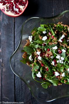 Perfect holiday side dish! Pumpkin Ale Farro Roasted Asparagus Pomegranate and Goat Cheese Salad