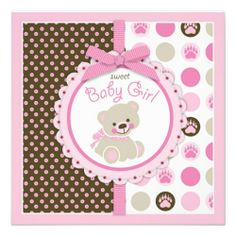 Teddy Bear Girl Baby Shower Pink Personalized Invitations