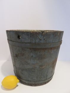 Ebay: Antique New England sap bucket in old blue paint. Water Bucket, Wall Boxes, Selling On Ebay, New England, Beams, Planter Pots, Auction, Woodworking, Rustic