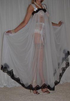 VTG Lingerie Soft Nylon Lace Negligee Slip FULL Sweep LONG Nightgown XXXL 3X 4X in Robes, Sleepwear | eBay