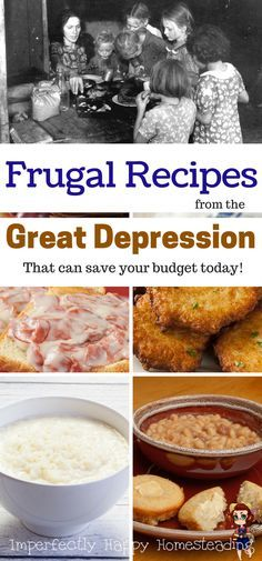 Depression Meals You Can Make Today and Save Frugal Recipes from the Great Depression, that can save your budget today!Frugal Recipes from the Great Depression, that can save your budget today! Frugal Meals, Frugal Recipes, Cheap Recipes, Family Recipes, Old Recipes, Frugal Tips, Easy Meals, Real Food Recipes, Cooking Recipes