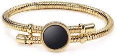 Aqua Mila Expandable Bangle - women's jewelry (black and gold, fashion accessories)