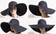 "009 Hot Elegant Classy Chic 6"" Wide Brim Sun Summer Curch Beach Floppy Hat Black #WideBrim"