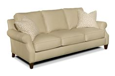 Neutral colored leather  sleeper couch from Wellington's leather furniture gallery.  Always FREE delivery!